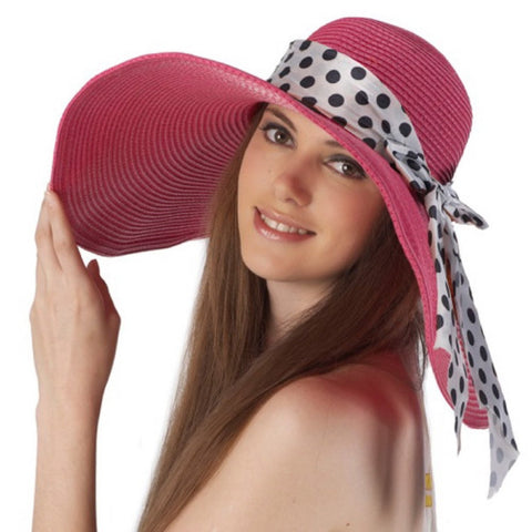 Luxury Lane Women's Rose Pink Floppy Sun Hat with Polka Dot Ribbon