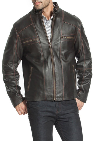 "BGSD Men's ""Michael"" Leather Motorcycle Jacket"