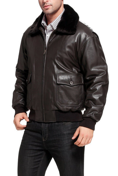 Landing Leathers Navy Men's G1 Goatskin Leather Flight Bomber Jacket (G-1)