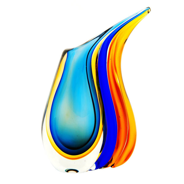 "Luxury Lane Hand Blown Multicolor Sommerso Teardrop Art Glass Vase with Angled Lip 11"" tall"