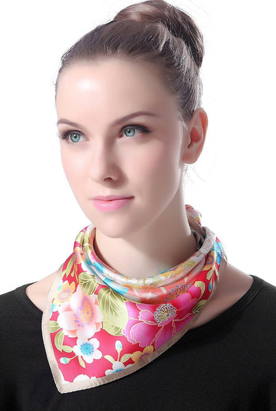 "Luxury Lane Women's ""Multi Color Cherry Blossom"" Silk Square Scarf"