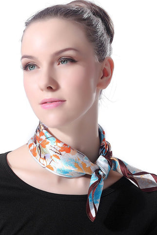 "Luxury Lane Women's ""Blue & Orange Cherry Blossom"" Silk Square Scarf"