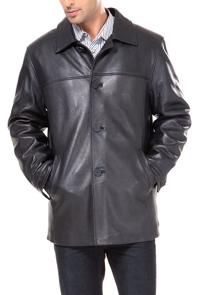 "BGSD Men's ""Samuel"" New Zealand Lambskin Leather Car Coat"