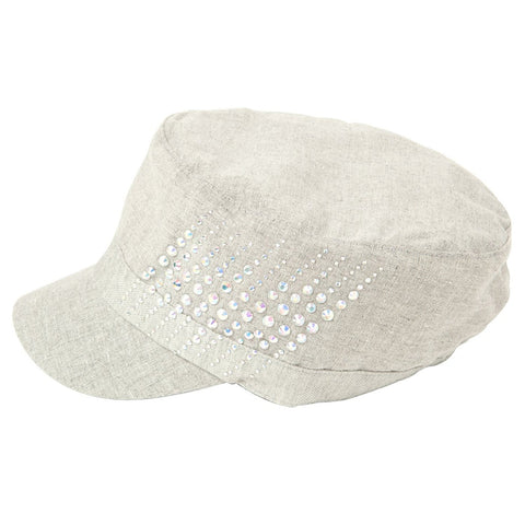 Luxury Lane Women's Gray Linen Rhinestones Cadet Cap