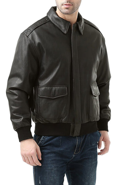 Landing Leathers Men's Premium Air Force A-2 Goatskin Leather Flight Bomber Jacket