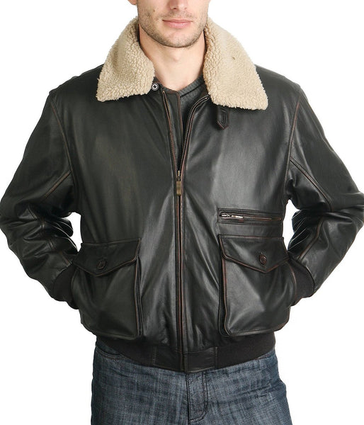 BGSD Men's Vintage Cowhide Leather Flight Bomber Jacket