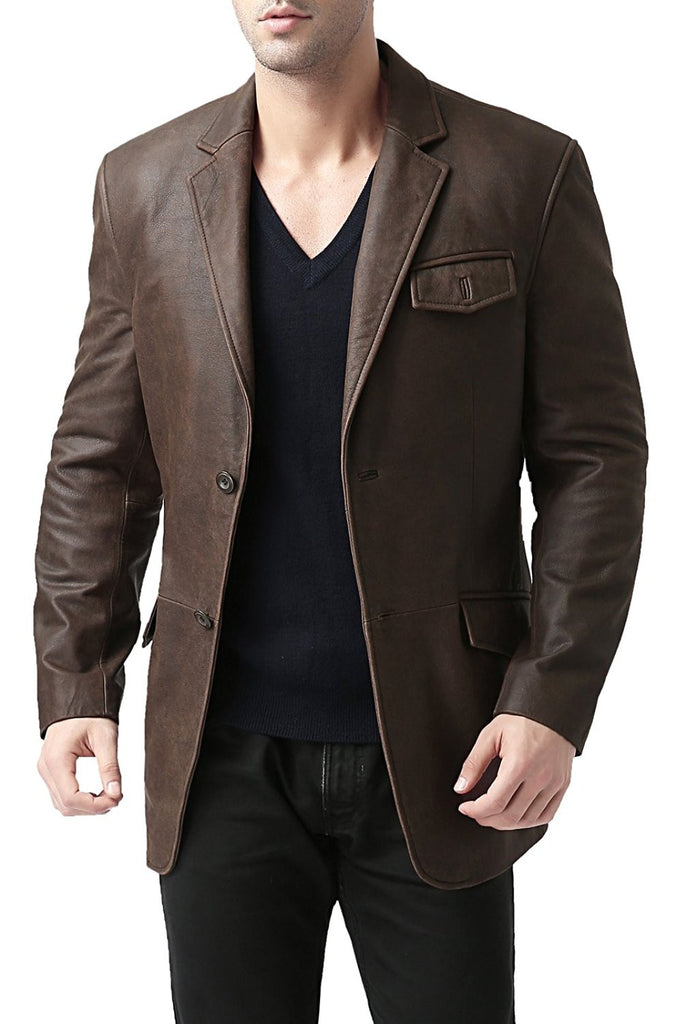 BGSD Men's Two-Button Cowhide Leather Blazer