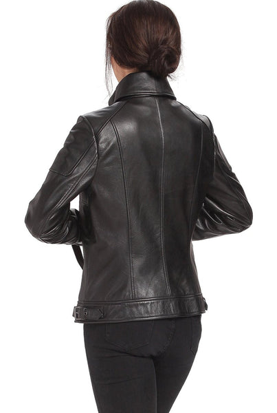 "BGSD Women's ""Melanie"" Lambskin Leather Moto Jacket"