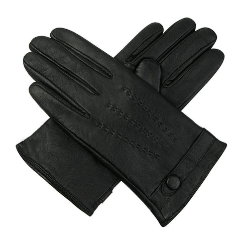 Luxury Lane Women's Cashmere Lined Lambskin Leather Driving Gloves