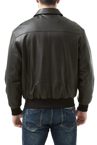 Landing Leathers Men's Premium Air Force A-2 Goatskin Leather Flight Bomber Jacket - Big