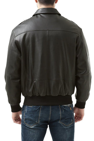 Landing Leathers Men's Premium Air Force A-2 Goatskin Leather Flight Bomber Jacket - Big & Tall