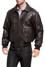 Load image into Gallery viewer, Landing Leathers Navy Men's G1 Goatskin Leather Flight Bomber Jacket (G-1)
