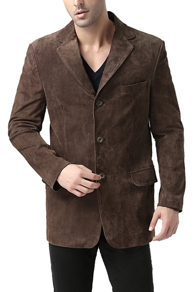 "BGSD Men's ""Robert"" Three-Button Suede Leather Blazer - Tall"