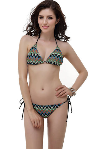"Women's Miss Adola ""Missy"" Chevron Crochet Triangle Bikini Bathing Suit Set"