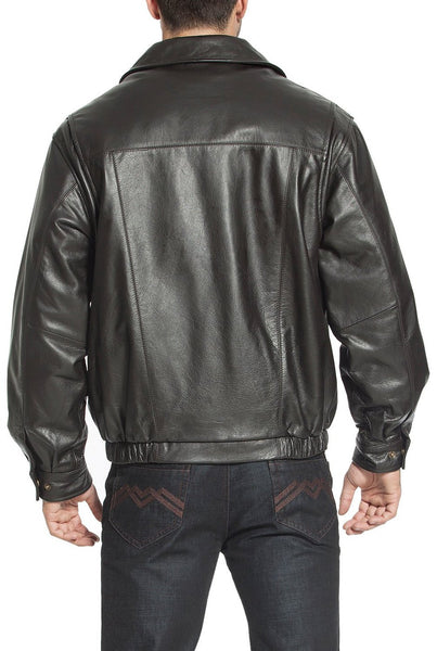 "BGSD Men's ""Aaron"" Classic Zip-Front Cowhide Leather Bomber Jacket"