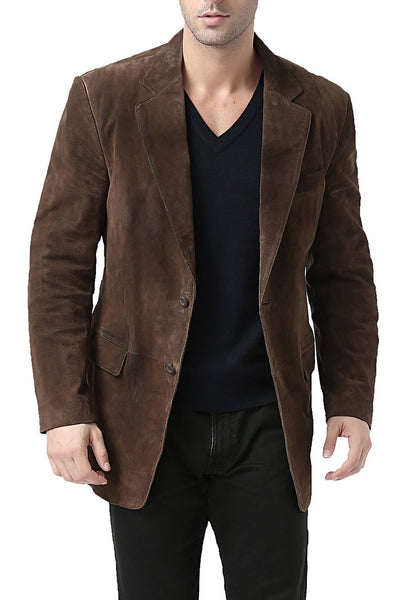 "BGSD Men's ""Cliff"" Classic Two-Button Suede Leather Blazer - Big & Tall"