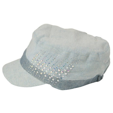 Luxury Lane Women's Blue Linen Rhinestones Cadet Cap