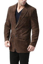 "Load image into Gallery viewer, BGSD Men's ""Cliff"" Classic Two-Button Suede Leather Blazer"