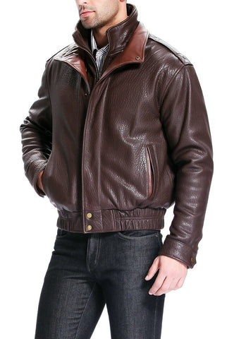bgsd mens brandon pebbled lambskin leather bomber jacket