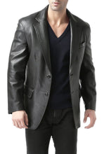"Load image into Gallery viewer, BGSD Men's ""Grant"" Two-Button New Zealand Lambskin Leather Blazer"