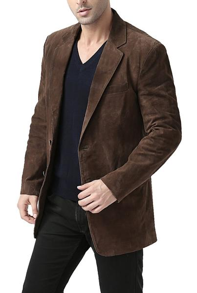 bgsd mens cliff classic two button suede leather blazer short