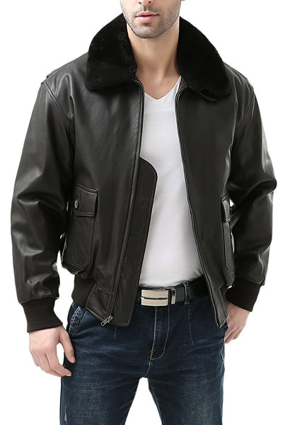 Landing Leathers Men's Premium Navy G1 Goatskin Leather Flight Bomber Jacket (G-1) - Tall