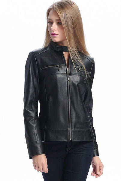 "BGSD Women's ""Maura"" Leather Biker Jacket"