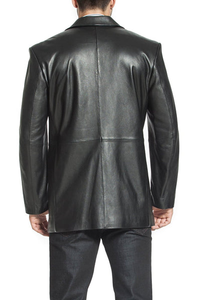 "BGSD Men's ""Judd"" One-Button Lambskin Leather Blazer"