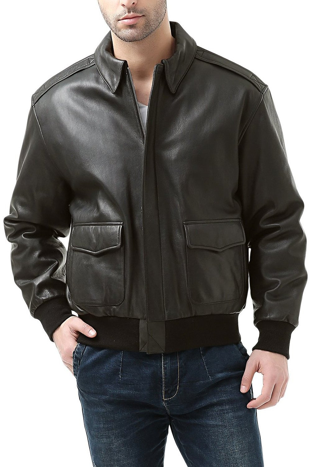Landing Leathers Men's Premium Air Force A2 Goatskin Leather Flight Bomber Jacket (A-2) - Tall Long