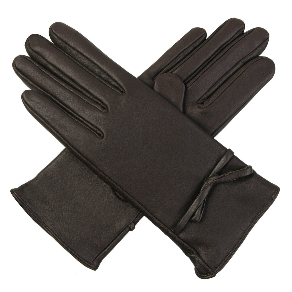 Luxury Lane Women's Cashmere Lined Lambskin Leather Gloves with Bow
