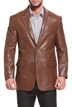 Load image into Gallery viewer, bgsd mens richard classic two button new zealand lambskin leather blazer 2