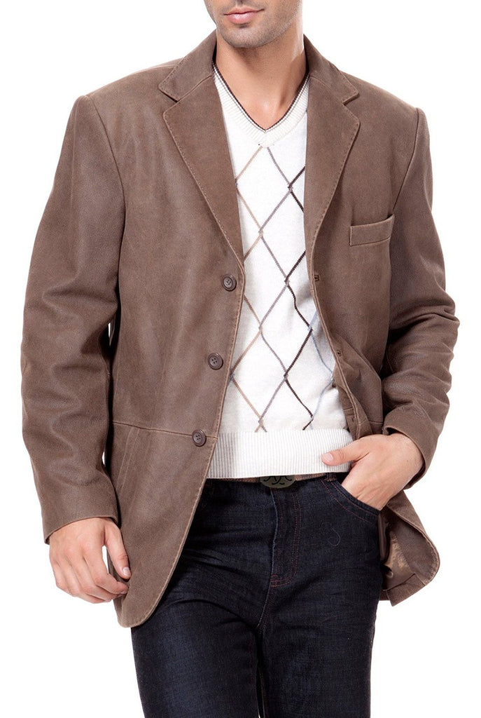 BGSD Men's Vintage Three-Button Cowhide Leather Blazer