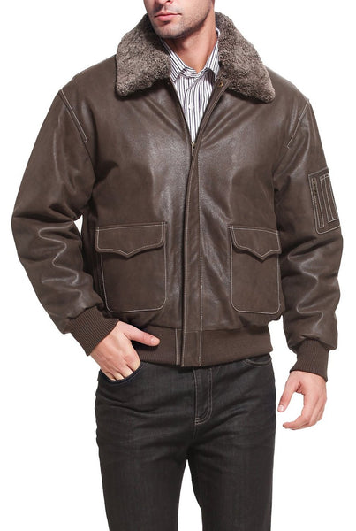"Landing Leathers Men's ""Alex"" Leather Aviator Flight Jacket"