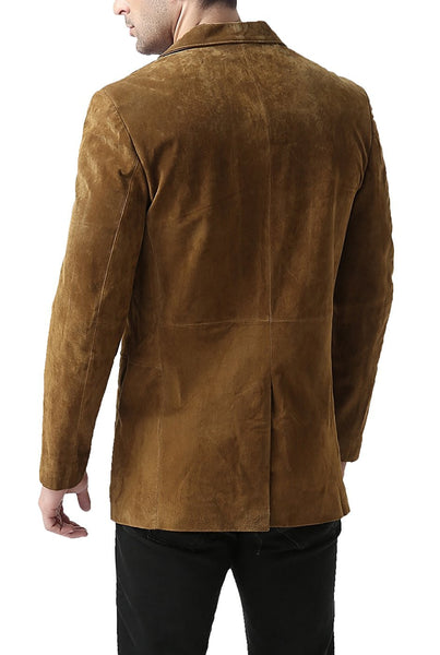 "BGSD Men's ""Cliff"" Classic Two-Button Suede Leather Blazer"