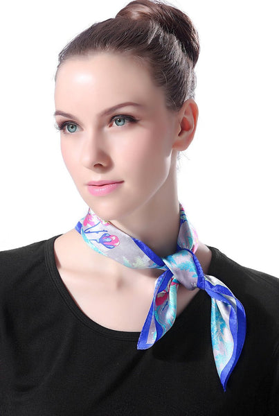 "Luxury Lane Women's ""Blue, Turquoise & Pink Cherry Blossom"" Silk Square Scarf"