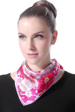 "Load image into Gallery viewer, Luxury Lane Women's ""Pink & Purple Cherry Blossom"" Silk Square Scarf"