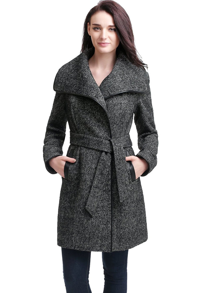 "BGSD Women's ""Etta"" Missy & Plus Size Wool Blend Wrap Coat"