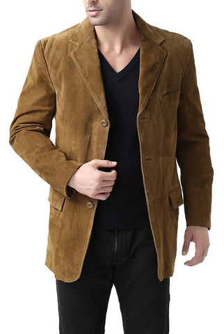 "BGSD Men's ""Robert"" Three-Button Suede Leather Blazer"