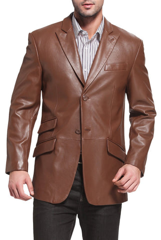 bgsd mens noah peaked lapel lambskin leather blazer 2