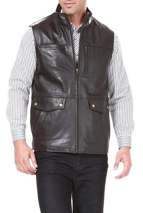 bgsd mens zip front goatskin leather vest
