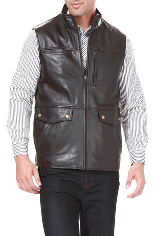 BGSD Men's Zip Front Goatskin Leather Vest