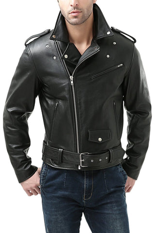 BGSD Men's Classic Cowhide Leather Motorcycle Jacket