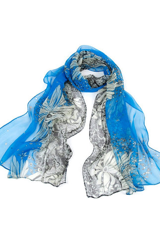 "Luxury Lane Women's ""Wild Flowers"" Long Sheer Silk Wrap Scarf"