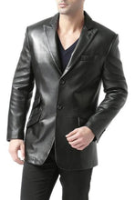 Load image into Gallery viewer, bgsd mens noah peaked lapel lambskin leather blazer short