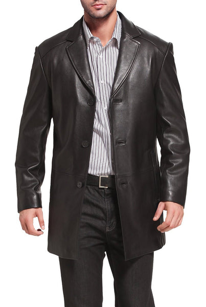 "BGSD Men's ""Carter"" Three-Button New Zealand Lambskin Car Coat - Short"