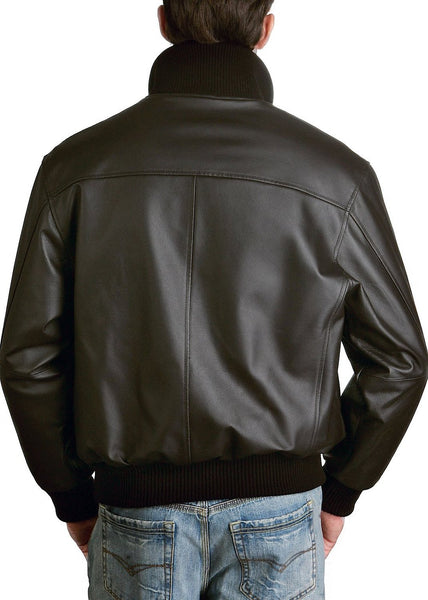 Landing Leathers Men's Navy A-1 Leather Flight Bomber Jacket