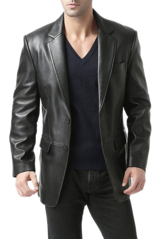 "BGSD Men's ""Richard"" Classic Two-Button New Zealand Lambskin Leather Blazer - Big & Tall Long"