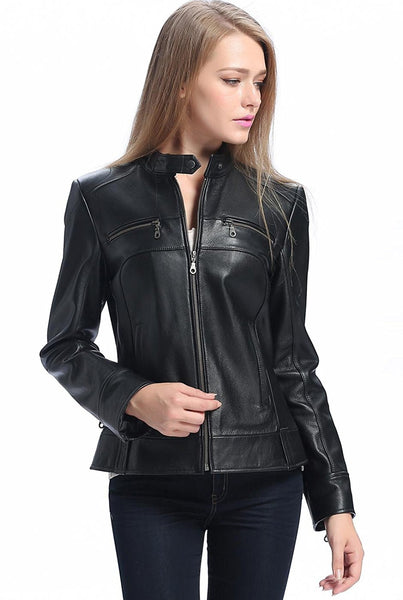 "BGSD Women's ""Maura"" Zip Front Moto Leather Jacket"
