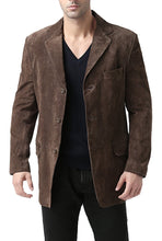 "Load image into Gallery viewer, BGSD Men's ""Robert"" Three-Button Suede Leather Blazer"