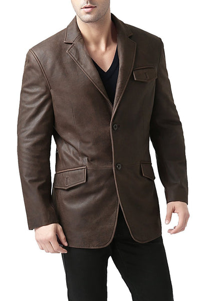 bgsd mens two button cowhide leather blazer